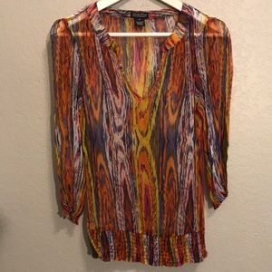 Lucky Brand sheer colorful blouse medium